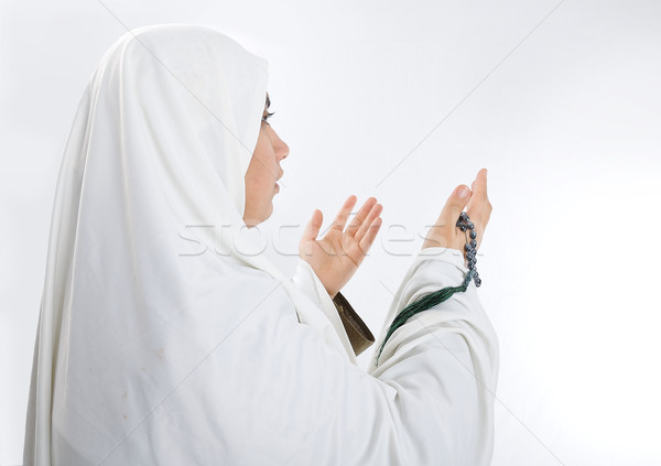 Young woman, muslim pilgrim in white traditional clothes Stock photo © zurijeta