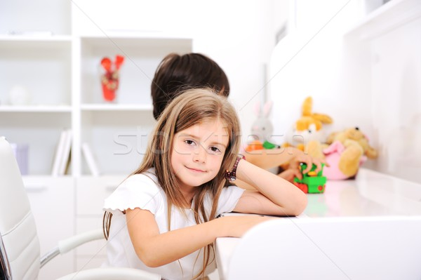 Adorable kids brother and sister at home Stock photo © zurijeta