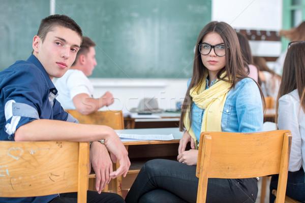 Öğrenciler oturma geriye doğru lise sınıf kız Stok fotoğraf © zurijeta