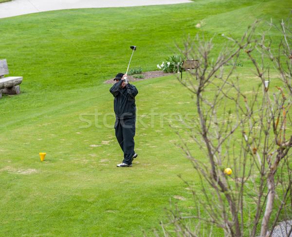 гольф гольф закат зеленый мяча подготовки Сток-фото © zurijeta