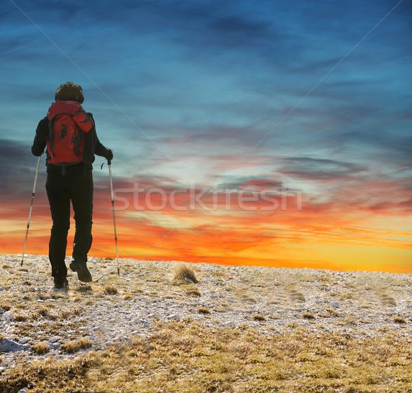 Hiking scene, hiker walking on the mountain in sunset Stock photo © zurijeta