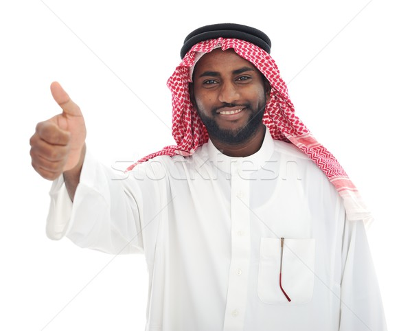 Arabic Middle eastern black man with thumb up Stock photo © zurijeta