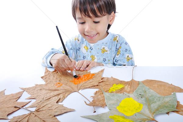 kid panting Stock photo © zurijeta