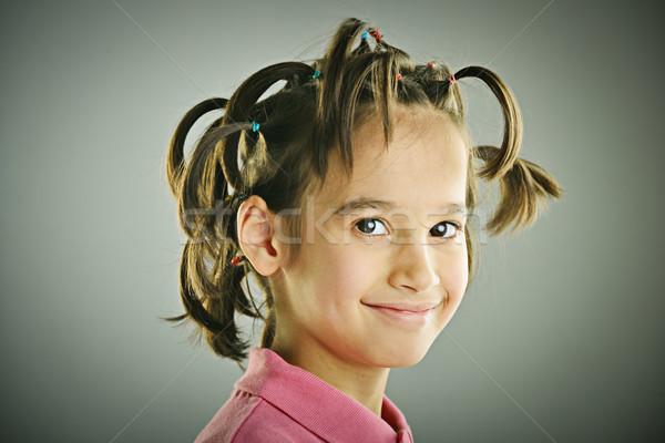 Vicces portré gyerek hajstílus baba mosoly Stock fotó © zurijeta