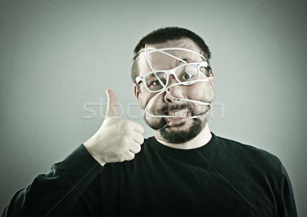 Portre adam gülümseme yüz soyut gözlük Stok fotoğraf © zurijeta