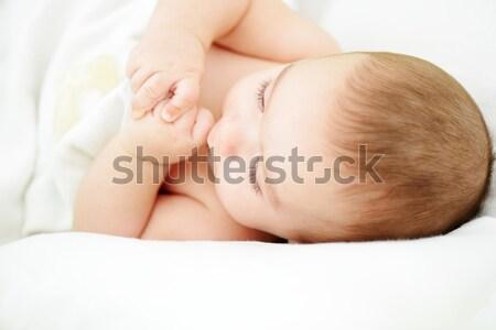Aanbiddelijk baby jongen portret witte Stockfoto © zurijeta