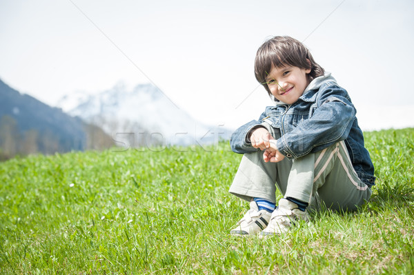 Little boy having beautiful spring vacation in idyllic Alps Stock photo © zurijeta