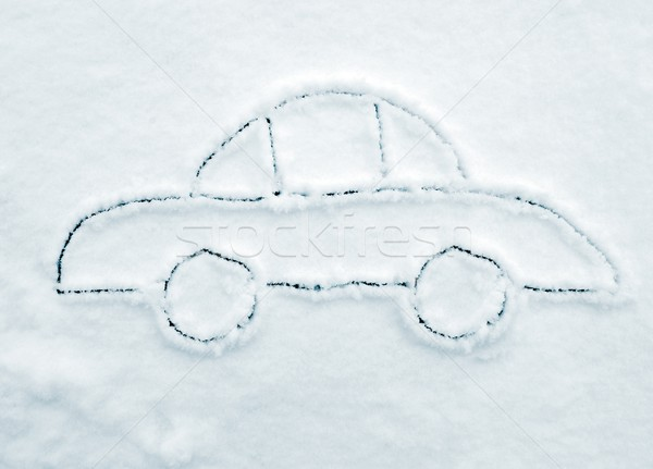 Hand drawing car on snow Stock photo © zurijeta