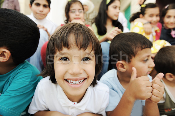 Children group, happiness and togetherness Stock photo © zurijeta
