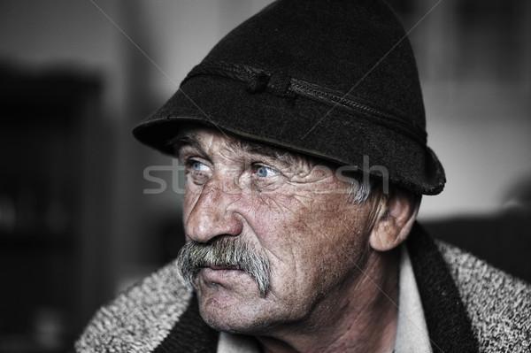 Portrait of old man with mustache, grain added Stock photo © zurijeta