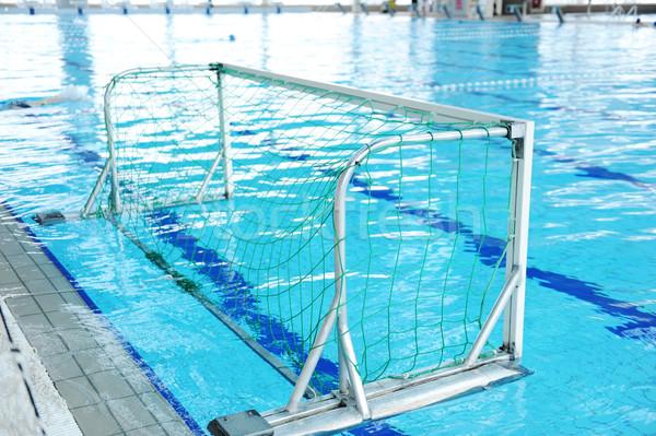Yüzme havuzu ayarlamak yukarı sutopu rekabet gol Stok fotoğraf © zurijeta