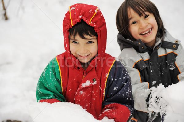 Two boys in snow Stock photo © zurijeta