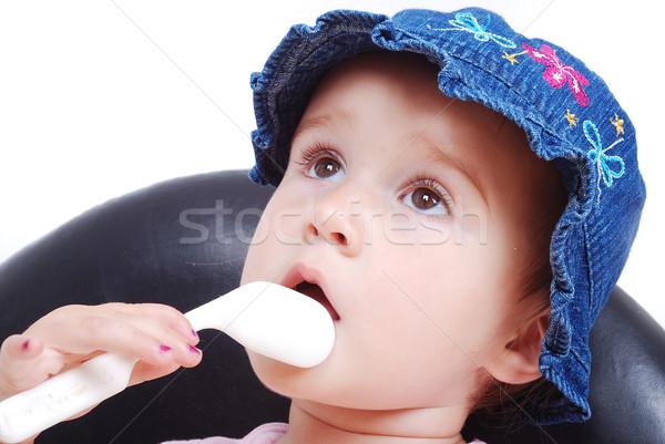 Bebé sesión negro silla comer aislado Foto stock © zurijeta