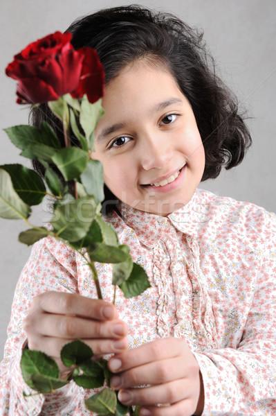 Cute dziewczyna piękna czerwona róża ręce wzrosła Zdjęcia stock © zurijeta