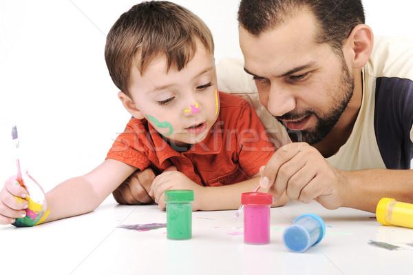 Vader kid spelen verf kleuren familie Stockfoto © zurijeta