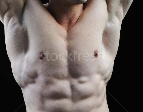 Tökéletes férfi test klassz testépítő pózol Stock fotó © zurijeta