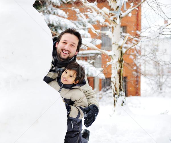 отцом сына играет счастливо снега снеговик Сток-фото © zurijeta