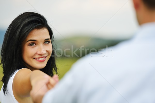Young loving couple engaged in nature Stock photo © zurijeta