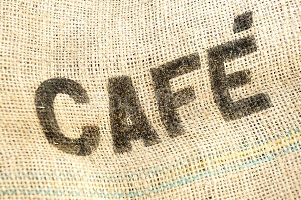 Caffee, cafe bag, fabric grunge background Stock photo © zurijeta