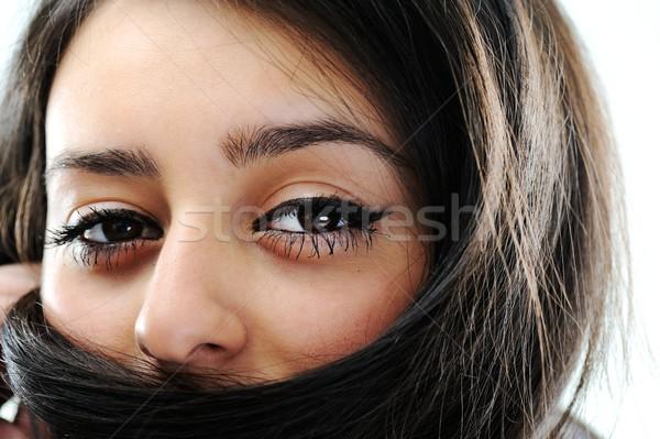 Beauty brunette female portrait Stock photo © zurijeta