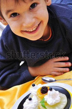 Dessert, sweet, fruits, cream, plate, and cute kid Stock photo © zurijeta
