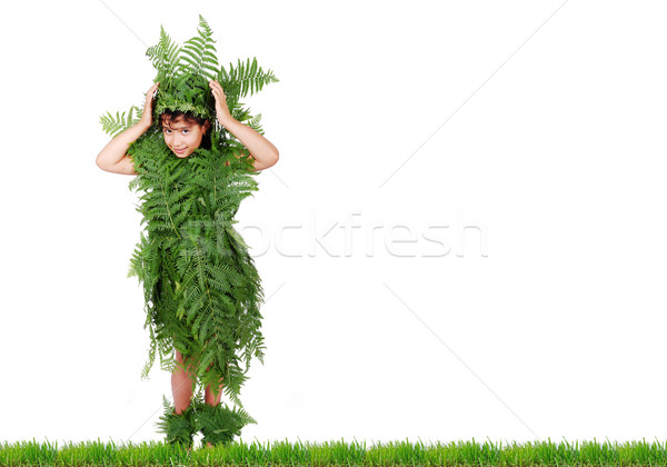 Plant girl on grass isolated Stock photo © zurijeta