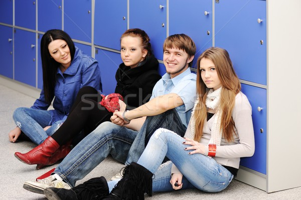 A group of high school students in the school hallway Stock photo © zurijeta