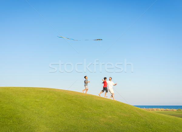 Foto stock: Corrida · pipa · férias · de · verão · férias · perfeito · prado