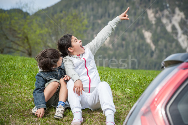 Kids having beautiful spring vacation with a car  in idyllic Alp Stock photo © zurijeta