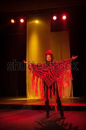 Tett játék előadás színház nő zene Stock fotó © zurijeta