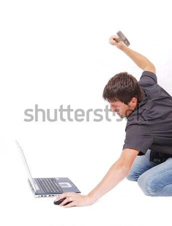 Crazy человека ноутбука молота музыку стороны Сток-фото © zurijeta