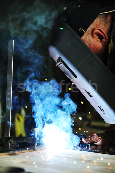 Lasser werknemer fabriek man bouw technologie Stockfoto © zurijeta