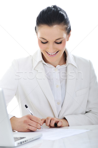 Business woman on desk dealing with the contracts Stock photo © zurijeta