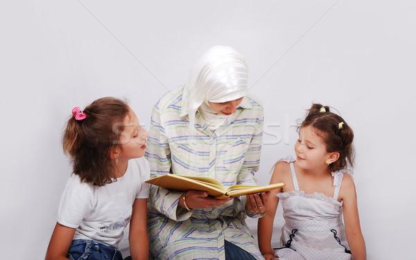 Fiatal muszlim nő hagyományos ruházat oktatás Stock fotó © zurijeta