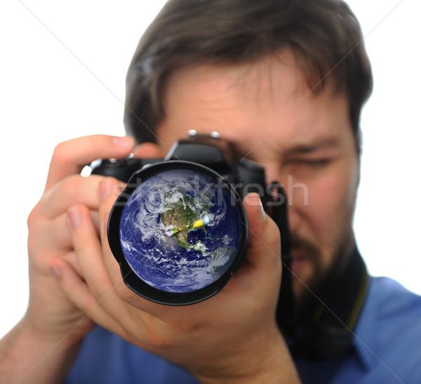 地球 カメラレンズ 男 撮影 写真 眼 ストックフォト © zurijeta