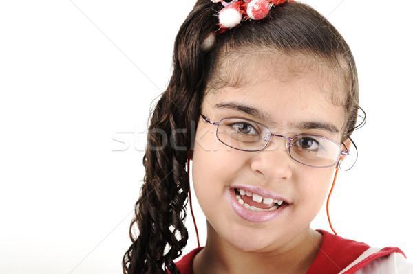 Mixed race adorable cute little school girl portrait, arabic - african - american Stock photo © zurijeta