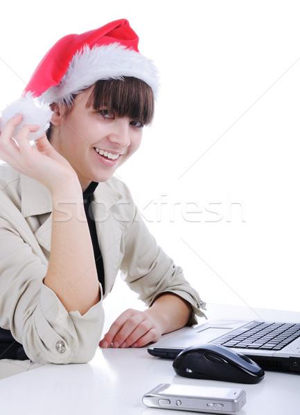 Fantasztikus gyönyörű mikulás lány üzlet nők Stock fotó © zurijeta