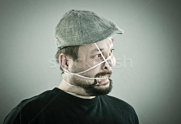 Retrato hombre boca loco banda estudio Foto stock © zurijeta