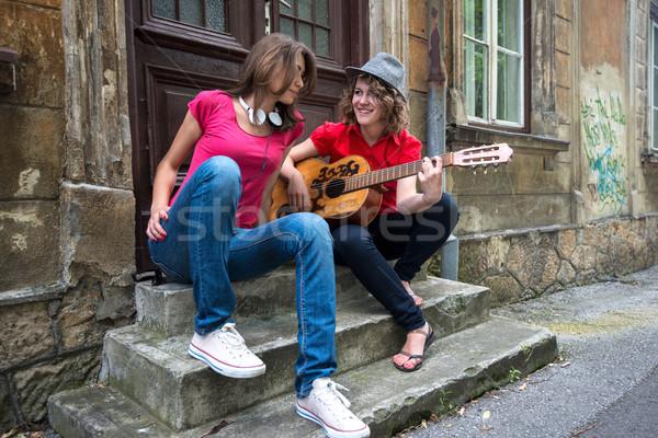 Stock photo: Two girls sitting
