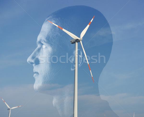 Man groene energie energie macht hoofd wind Stockfoto © zurijeta