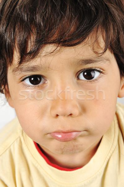 Zavart fiú szemek szomorú fej egyedül Stock fotó © zurijeta