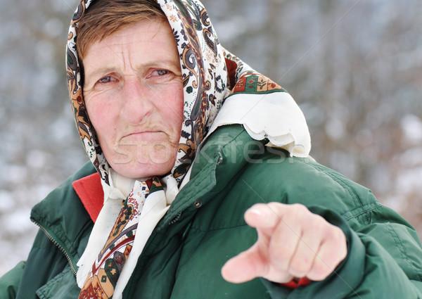 Idős nő idős falu nő haj anya Stock fotó © zurijeta