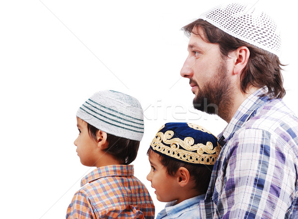 Muslim family, father and two boys Stock photo © zurijeta