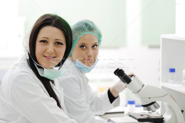 Iki kadın bilim adamları çalışma laboratuvar mikroskop Stok fotoğraf © zurijeta