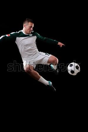 Labdarúgó levegő fekete sport férfiak labda Stock fotó © zurijeta