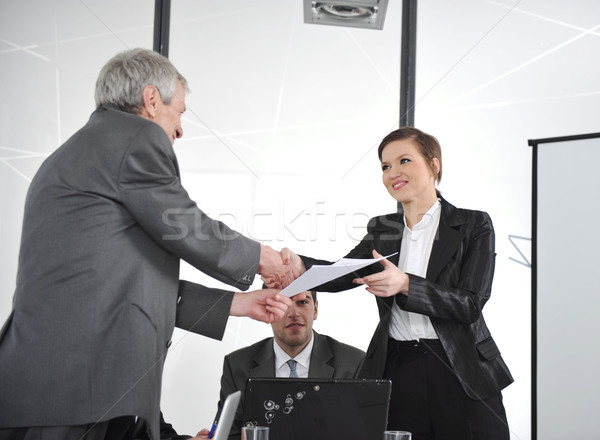Glückwünsche groß Job Business Hand Sitzung Stock foto © zurijeta