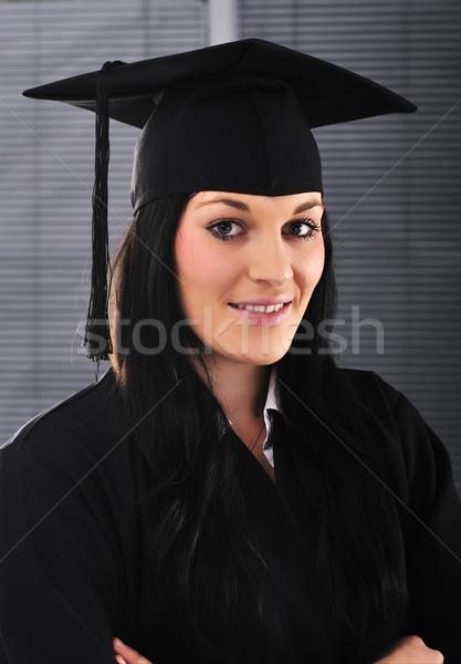 студент девушки академический платье диплом бизнеса Сток-фото © zurijeta