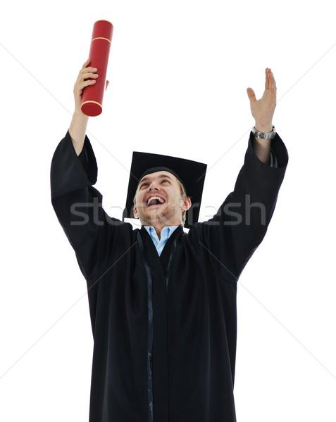 Fiatal diplomás diák tart diploma izolált Stock fotó © zurijeta