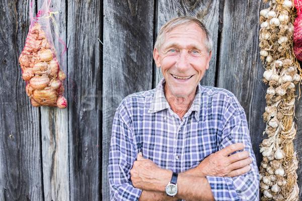 Boldog mosolyog idősebb idős férfi portré Stock fotó © zurijeta