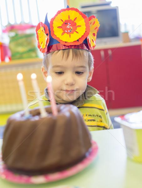 Little cute boy having birthday party at kindergarden Stock photo © zurijeta